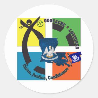 LOUISIANA STATE MOTTO GEOCACHER CLASSIC ROUND STICKER