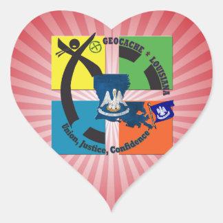 LOUISIANA STATE MOTTO GEOCACHER HEART STICKER