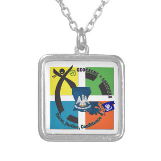 LOUISIANA STATE MOTTO GEOCACHER SILVER PLATED NECKLACE