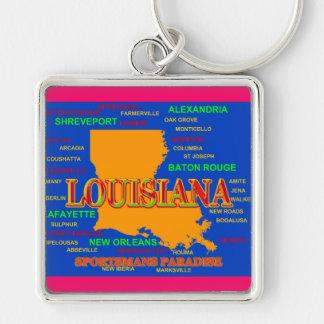 Louisiana State Pride Map Silhouette Keychain