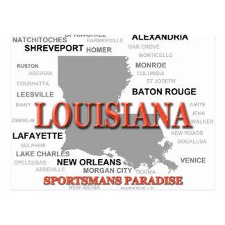 Louisiana State Pride Map Silhouette Post Card