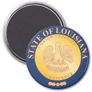 Louisiana State Seal 3 Inch Round Magnet