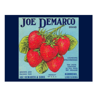 Louisiana Stawberry Crate Label Postcard
