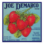 Louisiana Stawberry Crate Label - Poster