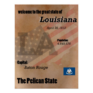 Louisiana The Pelican State Classic Poster