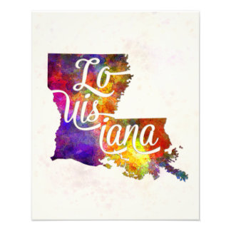 Louisiana U.S. State in watercolor text cut out Photo