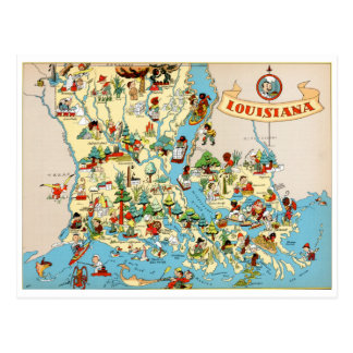 Louisiana Vintage Map Postcard