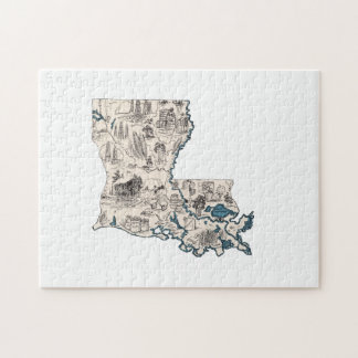 Louisiana Vintage Picture Map Jigsaw Puzzle