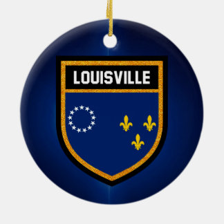 Louisville Flag Round Ceramic Ornament