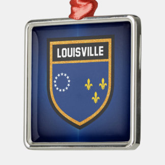 Louisville Flag Silver-Colored Square Ornament