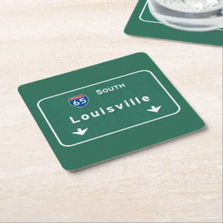 Louisville Kentucky kt Interstate Highway Freeway Square Paper Coaster