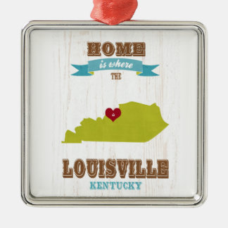 Louisville, Kentucky Map – Home Is Where The Heart Silver-Colored Square Ornament