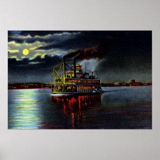 Louisville Kentucky Moonlight on the Ohio Poster