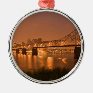 Louisville Kentucky Night Lights Bridge Ohio River Silver-Colored Round Ornament
