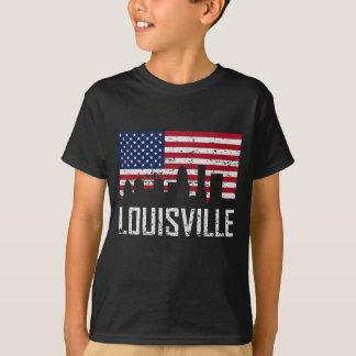 Louisville Kentucky Skyline American Flag Distress T-Shirt