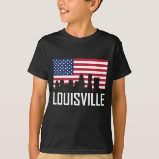 Louisville Kentucky Skyline American Flag T-Shirt