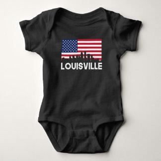 Louisville KY American Flag Skyline Baby Bodysuit