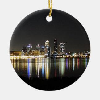 Louisville skyline at night ceramic ornament