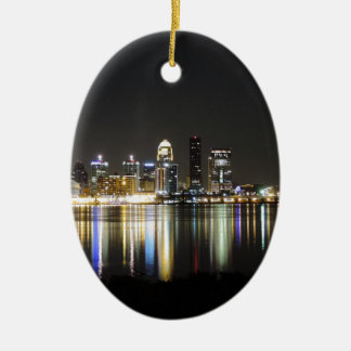 Louisville skyline at night ceramic oval ornament