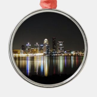 Louisville skyline at night Silver-Colored round ornament