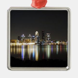 Louisville skyline at night Silver-Colored square ornament