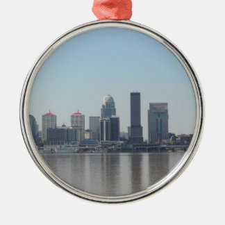Louisville skyline during the day Silver-Colored round ornament