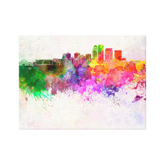 Louisville skyline in watercolor background canvas print