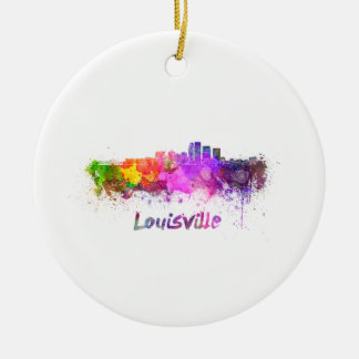 Louisville skyline in watercolor round ceramic ornament