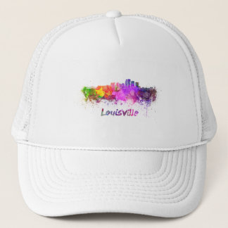 Louisville skyline in watercolor trucker hat