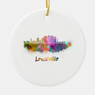 Louisville V2 skyline in watercolor Ceramic Ornament