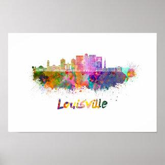 Louisville V2 skyline in watercolor Poster