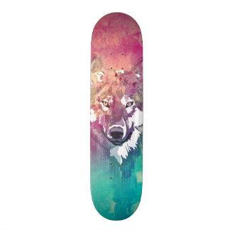 Loup abstrait artistique d'aquarelle rose de planche à roulette