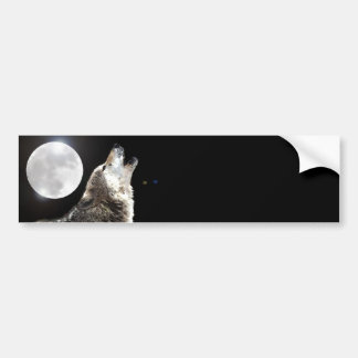 Loup et lune autocollant de voiture