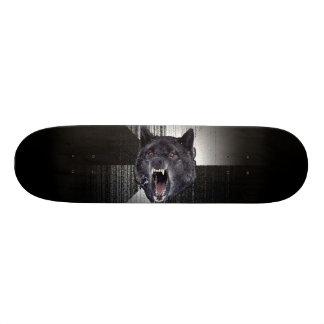Loup noir drôle de Meme Memes de loup de folie Skateboard 20,6 Cm
