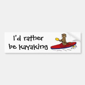 Loutre drôle Kayaking Autocollant De Voiture
