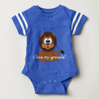 """Lovable lion with """"I love my gruncle!"""" Baby Bodysuit"""