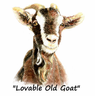 Lovable Old Goat Fun Watercolor Animal Standing Photo Sculpture