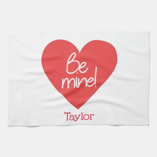 Lovable Red Heart Be Mine Kitchen Towel