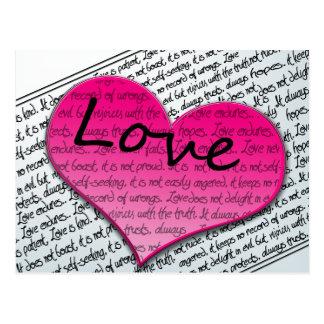 Love 1 Corinthians 13 Hearts Pink Postcard