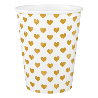 Love 2018 White - Golden heart Paper Cup