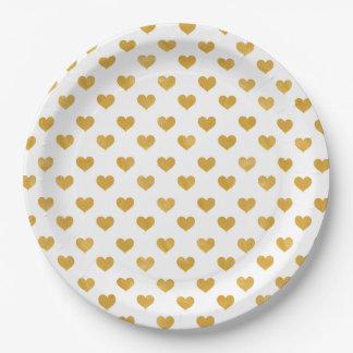 Love 2018 White - Golden heart Paper Plate