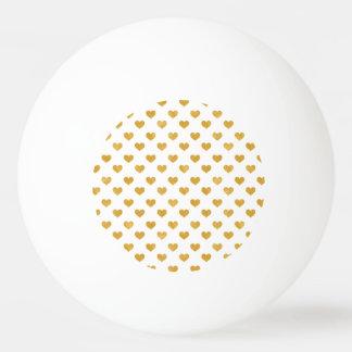 Love 2018 White - Golden heart Ping Pong Ball
