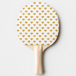 Love 2018 White - Golden heart Ping Pong Paddle