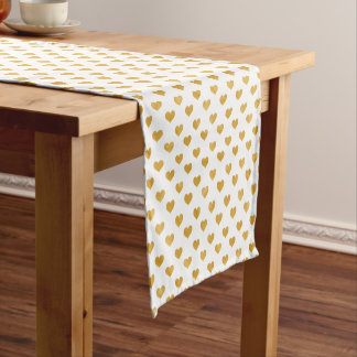 Love 2018 White - Golden heart Short Table Runner