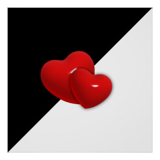 love-489522 Black white triangle red hearts backgr Poster