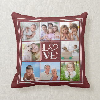 LOVE 8-Photo Collage (changeable solid colour) Throw Pillow