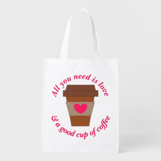 Love & A Good Cup of Coffee Reusable Grocery Bag