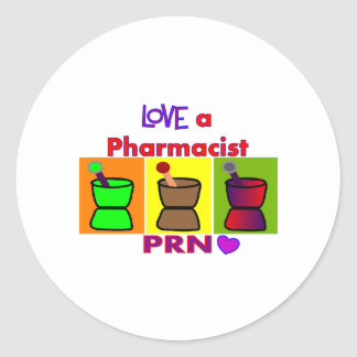 Love a Pharmacist PRN T-Shirts & Gifts Round Sticker