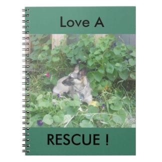 """Love A Rescue"" German Shepherd Journal Spiral Note Book"