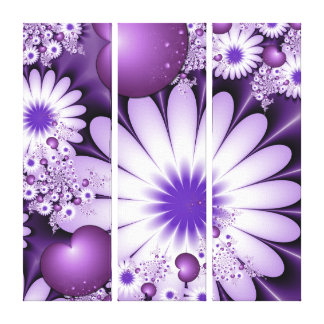 Love Abstract Flowers & Hearts Fractal Triptych Canvas Print